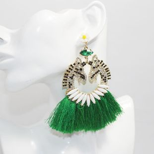 Nuevos pendientes largos de diamantes barrocos pendientes de flores de porcelana con borla de animales salvajes al por mayor NHWJ207360's discount tags