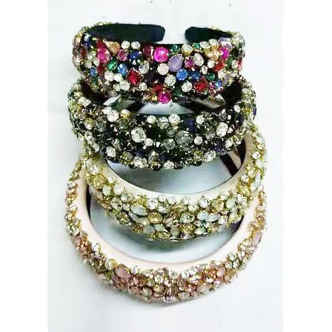 New Baroque rhinestone headband geometric wide edge full diamond color diamond fashion headband wholesale NHWJ207372's discount tags