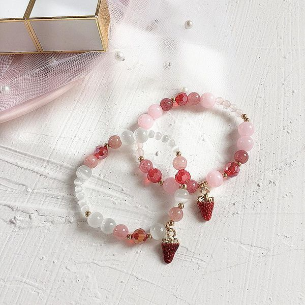 New Korean Strawberry Color Zircon Simple Bracelet for Women Wholesale NHHI207380