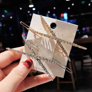 Coreano en forma de X rhinestone horquilla cristal simple horquilla barata al por mayor NHDQ207408's discount tags