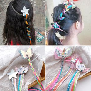 New fashion children's hair accessories unicorn star color wig bow hairpin NHNA207439's discount tags