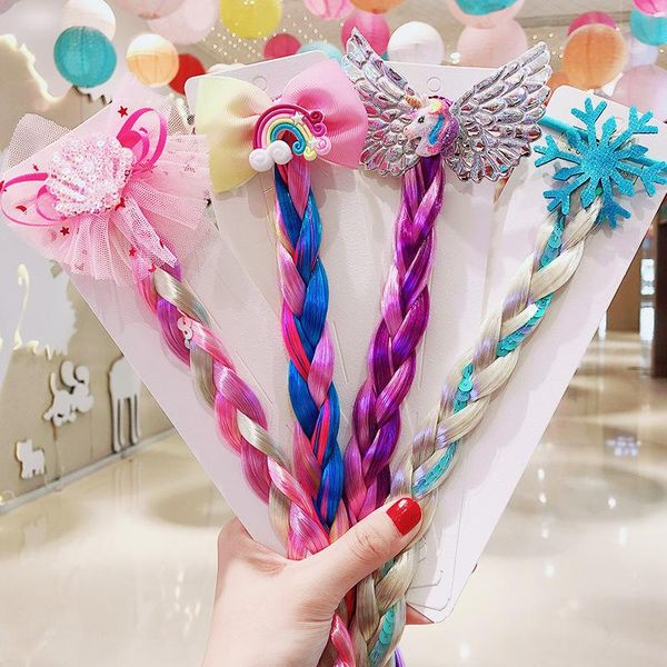 Children's cartoon unicorn color wig hair rope headdress cheap scrunchies wholesale NHNA207443