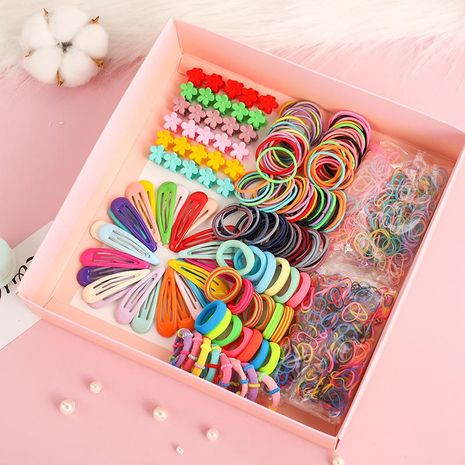 Korean new cute simple hairpin hair rope gift box set wholesale NHNA207446's discount tags