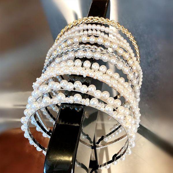 Banda de pelo de perla coreana hecha a mano anudada línea de pescado con cuentas diadema barata al por mayor NHNA207448