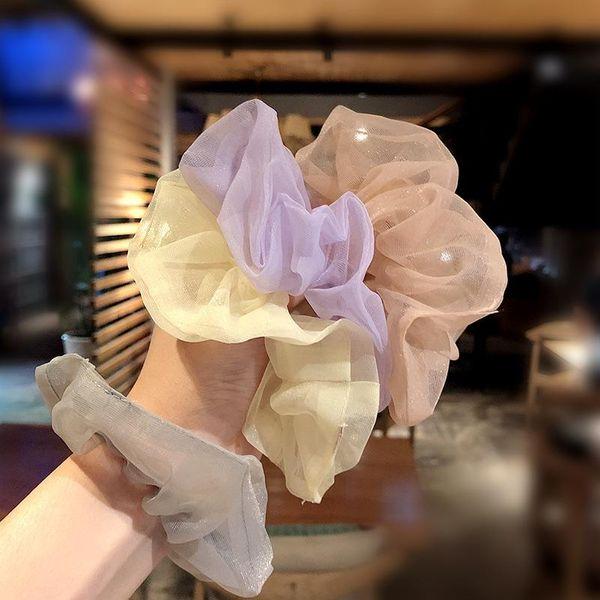 Korean simple color mesh yarn sweet wild cheap scrunchies wholesale NHNA207475