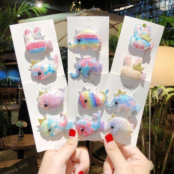 Korean children's glitter whale elephant cartoon cheap hairpin wholesale NHNA207477