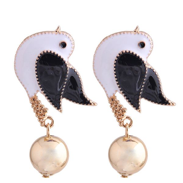 Fashion metal wild dripping oil hit color magpie temperament exaggerated earrings NHSC208046