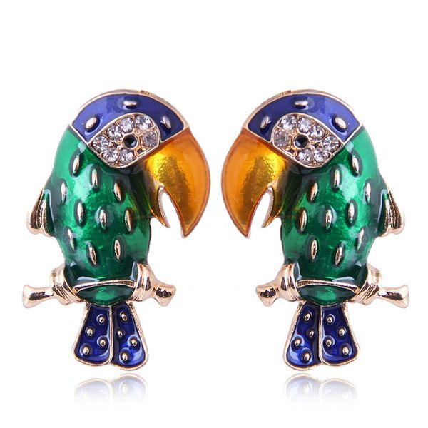 New fashion metal wild dripping oil hit color woodpecker exaggerated earrings Yiwu wholesale NHSC208045