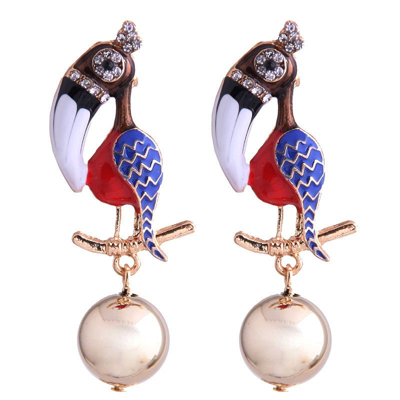New fashion metal wild dripping oil hit color toucan exaggerated earrings Yiwu wholesale NHSC208043