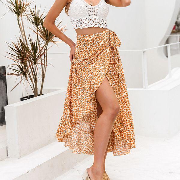Nueva falda larga floral de moda floral delgada de media longitud NHDE207726