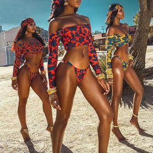 Split swimsuit sexy long sleeve bikini word shoulder sunscreen diving suit swimwear wholesale NHHL207562's discount tags