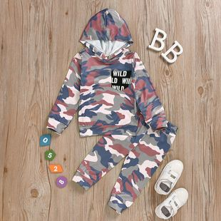 New children's clothing long-sleeved hooded top trousers milk silk leopard print two-piece suit NHYB207589's discount tags
