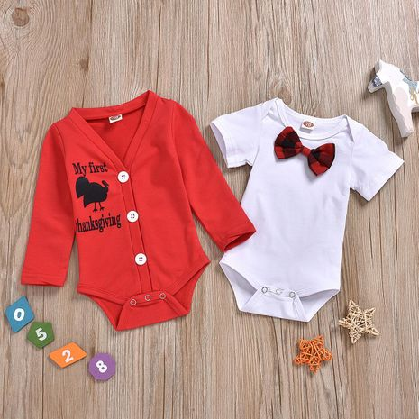 Nouvelle mode couleur unie vêtements d'extérieur à manches longues blanc sous-vêtements à manches courtes en coton deux pièces vêtements pour enfants en gros NHYB207591's discount tags