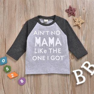 New pure cotton color matching long sleeve letter printed round neck T-shirt wholesale NHYB207592's discount tags
