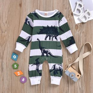 Spring new dinosaurs covered with printed long-sleeved dark buckle jumpsuit wholesale NHYB207593's discount tags