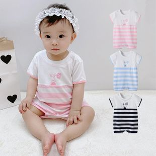 Summer new 0-3 year old baby cartoon bunny balloon open shoulder clothing wholesale NHTV207595's discount tags