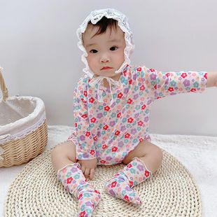 Summer children's clothing new Korean 0-3 year old female treasure multicolor flower clothes wholesale NHTV207596's discount tags
