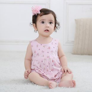 New cotton fashion and comfortable floral leaky back triangle hawaiian children's clothing wholesale NHTV207599's discount tags