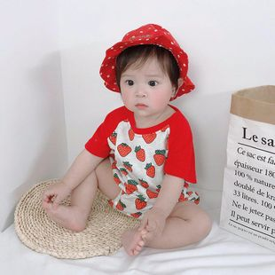 Summer baby jumpsuit female baby clothes strawberry hakama short sleeve wholesale NHTV207601's discount tags