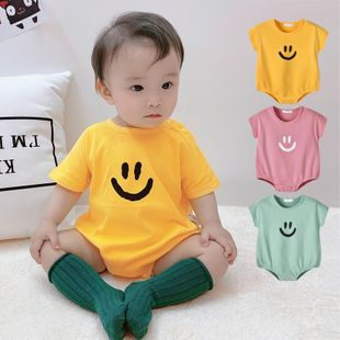 Summer new 0-3 year old female baby infant smile Han leisure loose short sleeve wholesale NHTV207603's discount tags