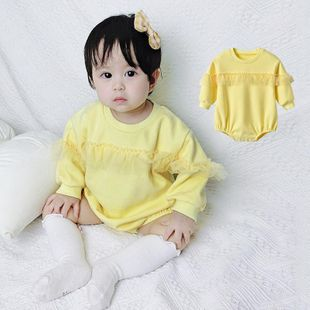 Baby clothes summer dress long sleeve jumpsuit female baby solid color mesh jumpsuit NHTV207607's discount tags