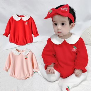 Spring children's clothing new 0-3 year old baby sweet cherry lapel triangle clothes wholesale NHTV207608's discount tags