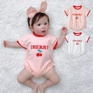 Spring new 0-3 year old baby girl baby infant two-color cherry printing short sleeve wholesale NHTV207609's discount tags