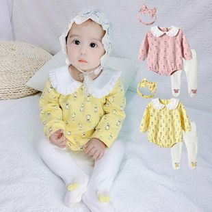 Summer new 0-3 year old baby girl baby sweet and cute rabbit printing three-piece wholesale NHTV207610's discount tags