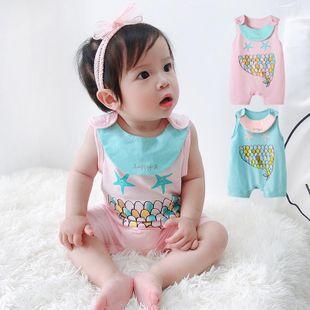 Summer cotton jumpsuit 0-6 months baby color fishtail printed vest wholesale NHTV207612's discount tags