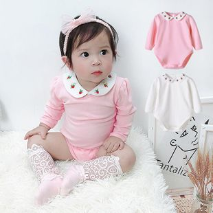 New 0-3 year old female baby two-color strawberry collar long sleeve wholesale NHTV207613's discount tags