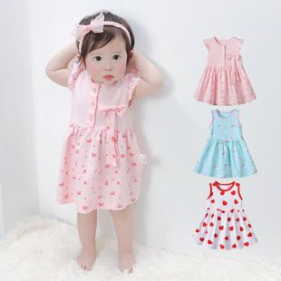 Summer children's clothing sweet and cute full printed vest dress wholesale NHTV207614's discount tags