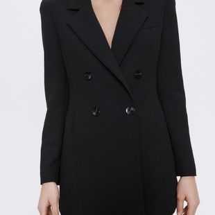 Spring new simple casual jacket women's double-breasted mid-length suit wholesale NHAM207631's discount tags