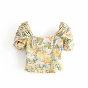 Spring retro fashion ink printing pleated short blouse wholesale NHAM207638's discount tags
