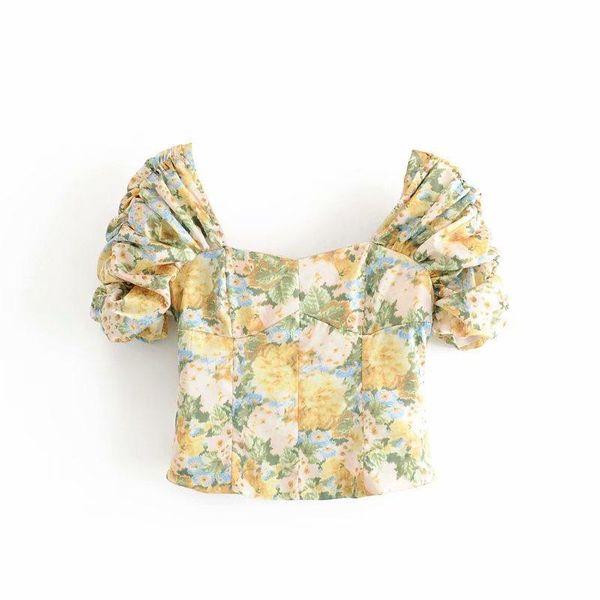 Spring retro fashion ink printing plisado blusa corta al por mayor NHAM207638