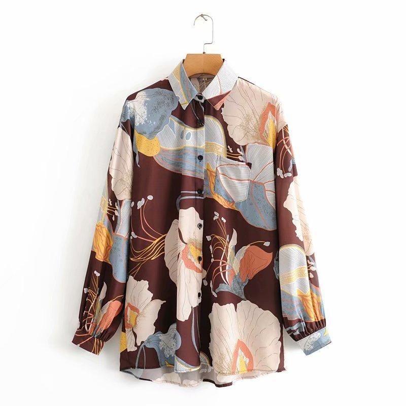 New lapel single-breasted fun printed irregular mid-length shirt wholesale NHAM207652