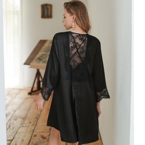 New fashion sexy pajamas nightgown simulation silk home service thin silk nightgown wholesale NHMR207679
