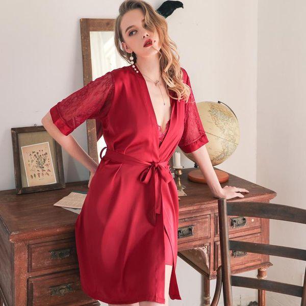 New fashion sexy nightgown kimono lace up gown homewear wholesale NHMR207681