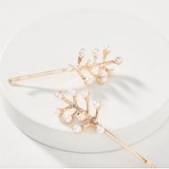 Wholesale YIWU Nihaojewelry Fashion Alloy Leaf Pearl Hair Clip NHMD207735