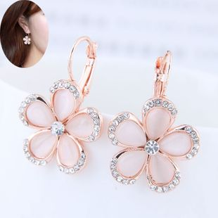 Korean fashion sweet flowers opal earrings yiwu nihaojewelry wholesale NHSC208666's discount tags