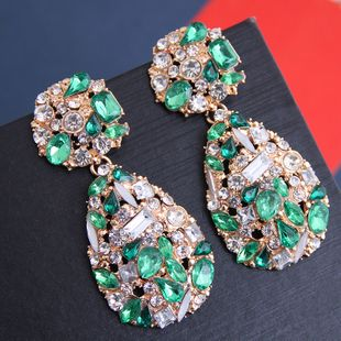 Metal simple bright gemstone water drop exaggerated earrings yiwu nihaojewelry wholesale NHSC208663's discount tags