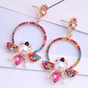 Fashion metal simple circle bee flash diamond exaggerated earrings yiwu nihaojewelry wholesale NHSC208662's discount tags