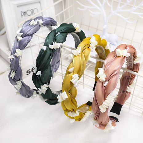 New fashion solid color bright silk yarn braid cheap hairband wholesale NHDM207761's discount tags