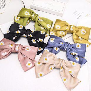 Korean new fashion hairpin double bow print daisy cheap spring clip NHDM207762's discount tags