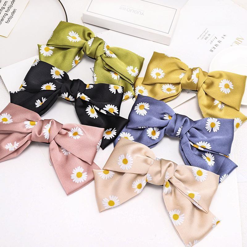 Korean new fashion hairpin double bow print daisy cheap spring clip NHDM207762