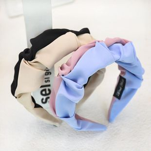 New fashion solid color color matching folds wide-brimmed hair band wholesale NHDM207768's discount tags