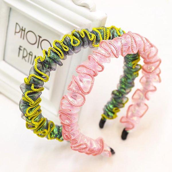 Korean new fashion pleated lace mesh yarn cheap headband wholesale NHDM207773