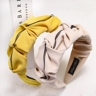 Spring pure color folds sweet cheap headband wholesale NHDM207775's discount tags