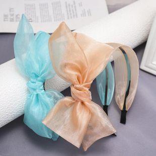 Korean new style fashion silk yarn bowknot wide mesh gauze cheap headband wholesale NHDM207776's discount tags
