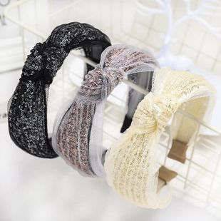Spring new mesh yarn headband lace sequin cheap hairband wholesale NHDM207781's discount tags
