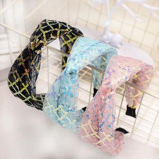 Korean new fashion hair accessories lace mesh yarn sequin headband cheap headband wholesale NHDM207783's discount tags